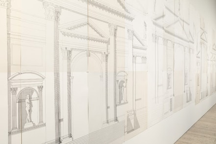 Luciano Fabro, <em>Every Order is Contemporaneous of Every Other Order: Four Ways of Examining the Façade of the SS. Redentore in Venice</em>, 1972. Screenprint on paper, 255 x 945 cm. Installation view, the 21st Biennale of Sydney, 2018, Art Gallery of New South Wales. Photo: silversalt photography. Courtesy the Estate of Luciano Fabro. Private collection, Milan.