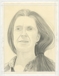 Portrait of Mary Weatherford, pencil on paper by Phong Bui.