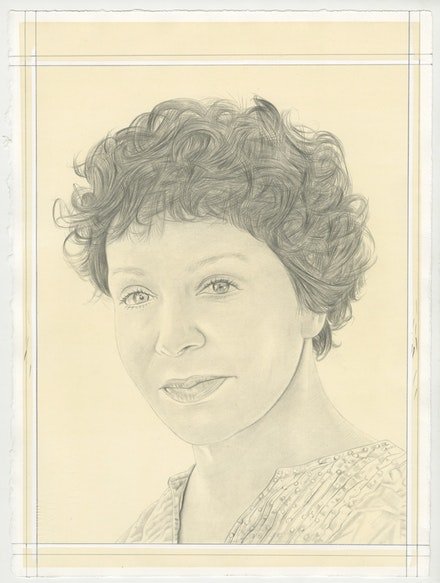 Portrait of Diana Thater, pencil on paper by Phong Bui.