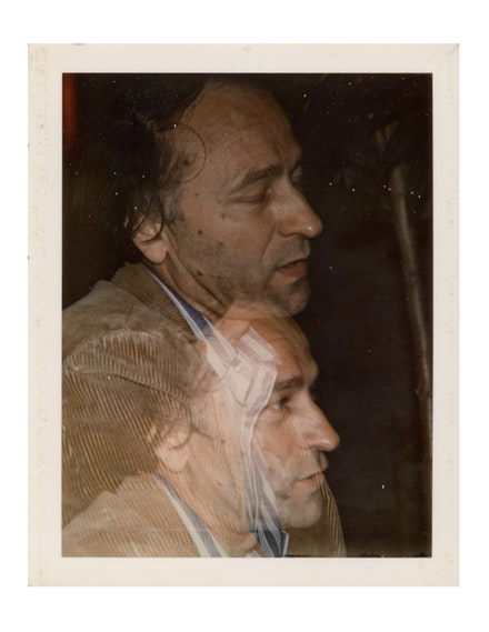 John Lennon, <em>Portrait of Jonas Mekas</em>, 1971. Polaroid, 4 1/4 x 3 3/8 inches. Courtesy James Fuentes.