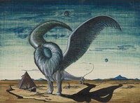Gray Foy, <em>Untitled [Landscape with Winged Lion and Pyramid]</em>, ca. 1941. © 2018 Estate of Gray Foy.