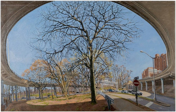 Rackstraw Downes, <em>Under a U-Turn on the Ramp from the George Washington Bridge to Rte. 9A North</em>, 2013. Oil on canvas, 23 1/2 x 37 inches.    Collection of the Pennsylvania Academy of Fine Art. Courtesy Betty Cuningham.