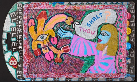 <p>Jayne County, <em>Moses and the Burning Penis Bush</em>, 2005, acrylic and marker on found object, 5 x 8.25 inches. Courtesy the artist.</p>