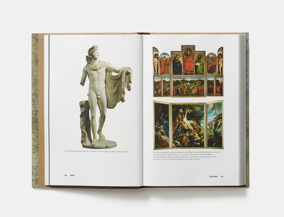 <em>The Museum of Lost Art</em>, Noah Charney, Phaidon; open at pages 52-53, 'War'.