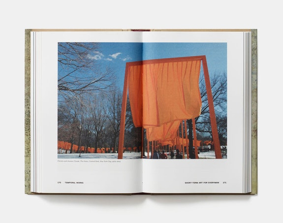 <em>The Museum of Lost Art</em>, Noah Charney, Phaidon; open at pages 170-171, 'Temporal Works', showing Christo and Jeanne-Claude, 'The Gates'