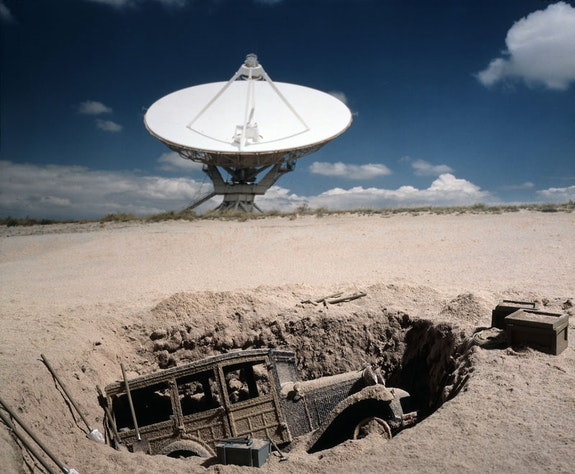 Patrick Nagatani, <em>Model A Woody, National Radio Astronomy Observatory (VLA), Plains of St. Agustin, New Mexico, U.S.A.</em>, 1997 / 1999. Ilfochrome print on paper. Courtesy the Albuquerque Museum.