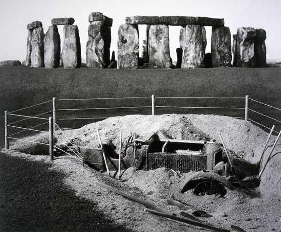 Patrick Nagatani, <em>Bentley, Stonehenge, Salisbury Plain, Wiltshire, England</em>, 1987 / 1999. Toned gelatin silver print on paper. Courtesy the Albuquerque Museum.