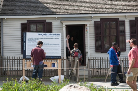 <p>Outside of the Historic Hunterfly Road House's 1860s at Weeksville Heritage Center, 2014. Image courtesy Weeksville Heritage Center. </p>
