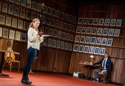 Left to right: Heidi Schreck and Mike Iveson in <em>What the Constitution Means to Me</em>. Photo by Joan Marcus.