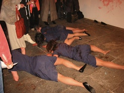 A group performs a piece by luciana achugar, CANADA Gallery (NYC). Photo byPhil Grauer.
