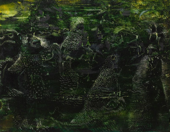 Ali Banisadr, <i>The Wretched of the Earth</i>, 2018. Etching painting, 11 x 14 1/8 inches. Courtesy the artist and Blain|Southern, London and Berlin.