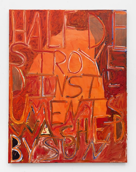 Samuel Jablon, <em>Half Destroyed Instruments Washed By Sun</em>, 2018. Oil and acrylic on canvas, 57 x 43 inches. Courtesy Freight + Volume.