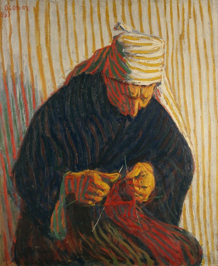 Roderic O&rsquo;Conor, <em>Breton Peasant woman knitting</em>, 1893. 81.5 x 67.9 cm. Private Collection. Image Courtesy Browse &amp; Darby, Ltd, London.