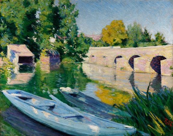 Roderic O&rsquo;Conor, <em>The Bridge at Grez</em>, c.1889&ndash;90. Oil on canvas, 72.9 x 91.8 cm. Private Collection. Photo: Roy Hewson.
