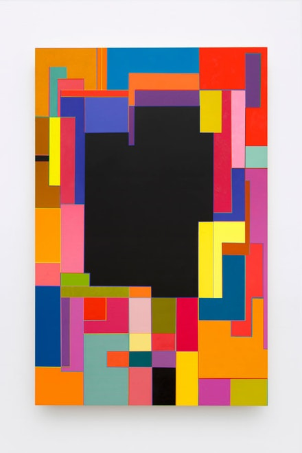 Marilyn Lerner, <em>Black Center</em>, 2017. Oil on wood, 40 x 26 inches. Courtesy the artist and Kate Werble Gallery, New York, NY. Photo: Gregory Carideo.