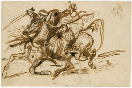 Eugène Delacroix, <em>The Giaour on Horseback</em>, 1824–26. Pen and iron gall ink with wash over graphite. The Metropolitan Museum of Art, New York, Gift from the Karen B. Cohen Collection of Eugène Delacroix, in honor of Jane Roberts, 2015.
