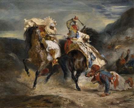 Eugène Delacroix, <em>The Combat of the Giaour and Hassan, </em>1826. Oil on canvas, 23 1/2 x 28 7/8 inches. The Art Institute of Chicago. Photo: The Art Institute of Chicago / Art Resource, NY.
