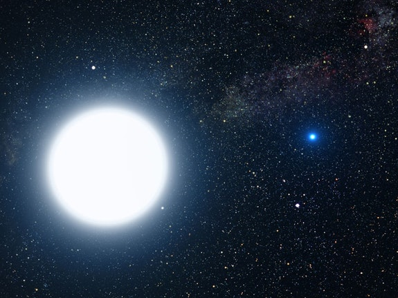 Artist's rendering of the binary star system of Sirius A and Sirius B. NASA, ESA and G. Bacon (STScI)