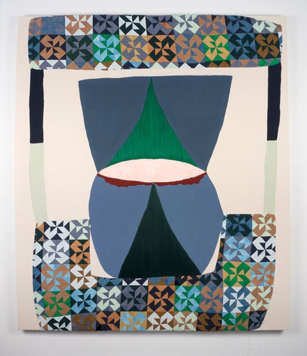 Amanda Valdez, <em>my sister</em>, 2018. Embroidery, fabric, hand-dyed fabric, gouache, acrylic, oil stick on mounted paper, and canvas, 70 x 60 inches. Courtesy Denny Dimin Gallery.