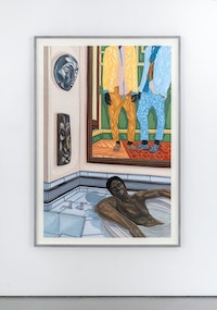 Toyin Ojih Odutola, <em>Heir Apparent</em>, 2018. Pastel, charcoal and pencil on paper, 63 1/4 x 42 inches. Courtesy Jack Shainman Gallery.