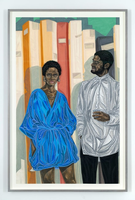 Toyin Ojih Odutola, <em>Famed Rivalry</em>, 2018. Pastel, charcoal and pencil on paper, 68 1/2 x 41 3/4 inches. Courtesy Jack Shainman Gallery.