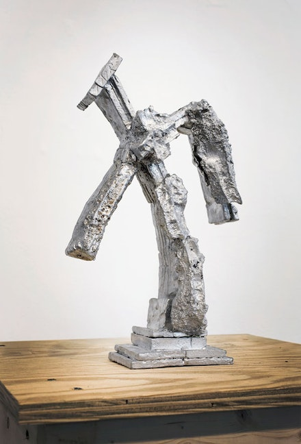 William Corwin, <em>Tired Crucifix ii</em>, 2018. Pewter, 13.5 x 8 x 3.5 inches. Courtesy Geary Contemporary.