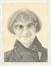 Portrait of Petah Coyne, pencil on paper by Phong Bui.