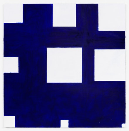 Paul Mogensen, <em>no title (Thalo blue and white)</em>, 2016, Oil and stand oil on canvas, 24 × 24 inches. courtesy the artist and Karma, New York