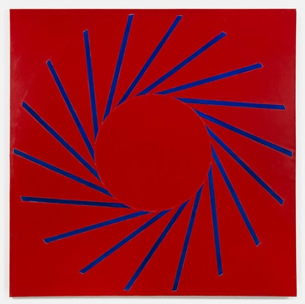 Paul Mogensen, <em>no title (Cadmium Red Medium and Ultramarine Blue)</em>, 2017, Oil and stand oil on canvas, 96 × 96 inches. courtesy the artist and Karma, New York