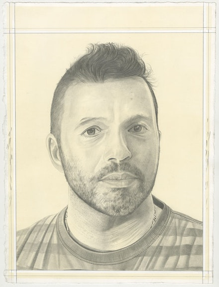 Portrait of Ali Banisadr, pencil on paper by Phong Bui.