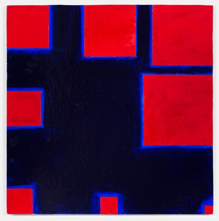 Paul Mogensen, <em>no title (Cadmium red and thalo blue)</em>, 2017, Oil and stand oil on canvas, 24 x 24 inches. courtesy the artist and Karma, New York
