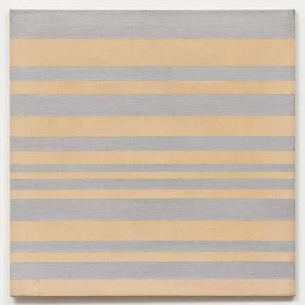 Paul Mogensen, no title, 1969, Aluminum enamel and graphite on unprimed canvas, 30 × 30 inches. courtesy the artist and Karma, New York