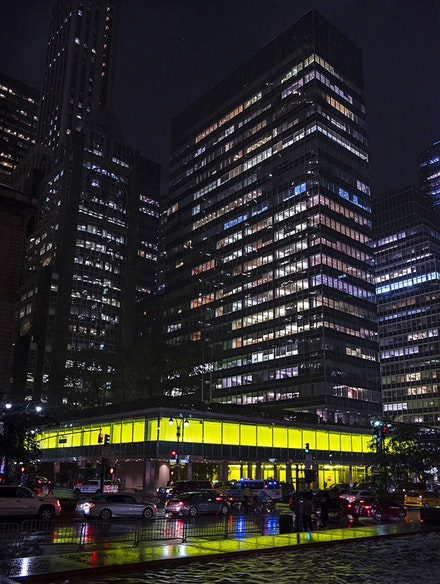 Peter Halley, <em>New York, New York, </em>2018, Lever House exterior. Photo by Peter Halley studio. Courtesy the artist and Greene Naftali, New York.