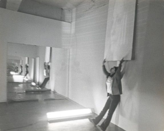 Still from performance at Castelli Warehouse in 1970. From <em>Object Situation Object</em>. Castelli Warehouse and Galerie Ricke, Cologne. Courtesy Keith Sonnier Studio. Photo: © Richard Landry © Artists Rights Society (ARS).
