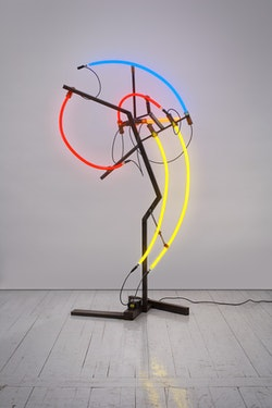 Keith Sonnier, <em>Mastodon (Herd Series)</em>, 2008. Steel, neon tubing, electrical wire, and transformer, 83 x 45 x 32 inches. Courtesy the artist and Pace Gallery, New York. Courtesy Keith Sonnier Studio, Photo: Genevieve Hanson. &copy; 2018 Keith Sonnier Studio/ Artists Rights Society (ARS), New York.