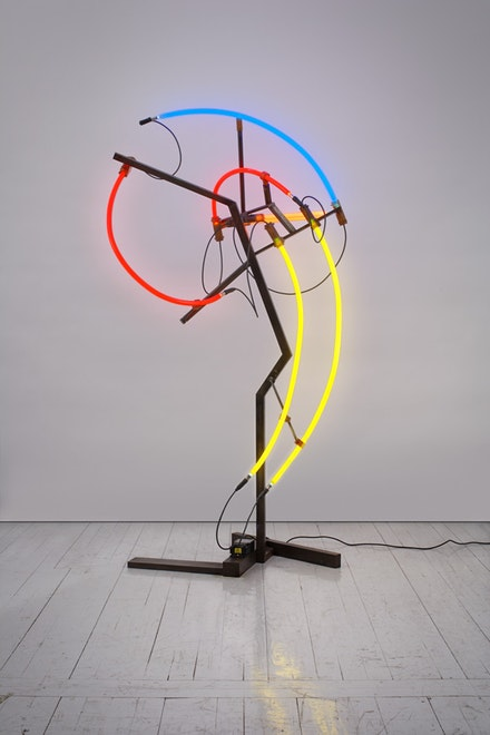Keith Sonnier, <em>Mastodon (Herd Series)</em>, 2008. Steel, neon tubing, electrical wire, and transformer, 83 x 45 x 32 inches. Courtesy the artist and Pace Gallery, New York. Courtesy Keith Sonnier Studio, Photo: Genevieve Hanson. © 2018 Keith Sonnier Studio/ Artists Rights Society (ARS), New York.