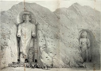 Buddhas of Bamiyan, engraving from Alexander Burnes's <em>Travels into Bokhara</em>, 1834.