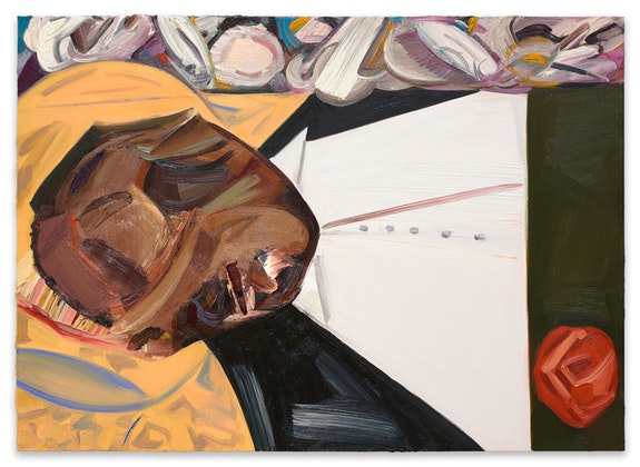 Dana Schutz, <em>Open Casket</em>, 2016. Oil on canvas, 38.5 x 53.25 inches. © Dana Schutz. Courtesy the artist and Petzel, New York.