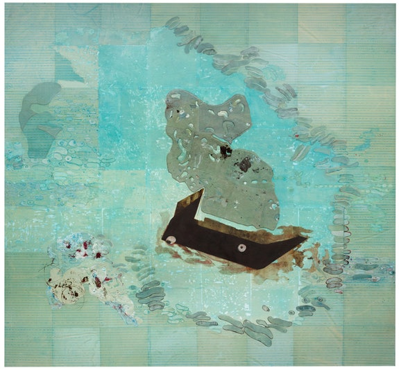 Ellen Gallagher, <em>Whale Fall</em>, 2017. Oil, acrylic, ink and paper on canvas, 74 x 79 1/2 inches. © Ellen Gallagher. Photo: Ernst Moritz. Courtesy the artist and Hauser & Wirth.