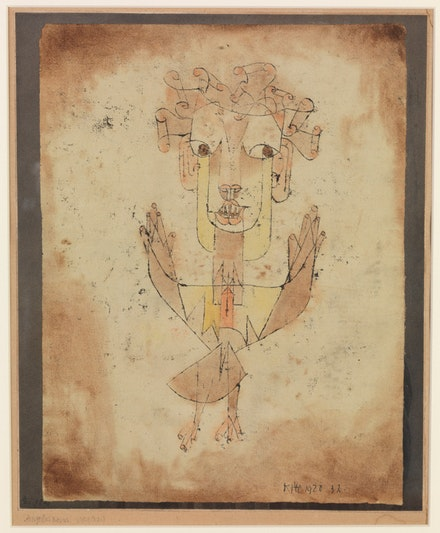 Paul Klee, <em>Angelus Novus</em>, 1920. Oil transfer and watercolor on paper, 31.8 x 24.2 cm. © The Israel Museum, Jerusalem. Photo: Elie Posner.