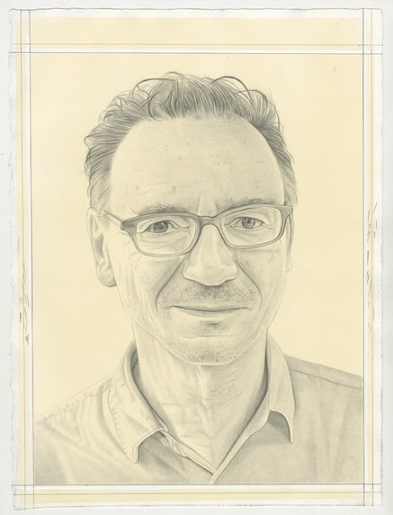 Portrait of Peter Halley, pencil on paper by Phong Bui.