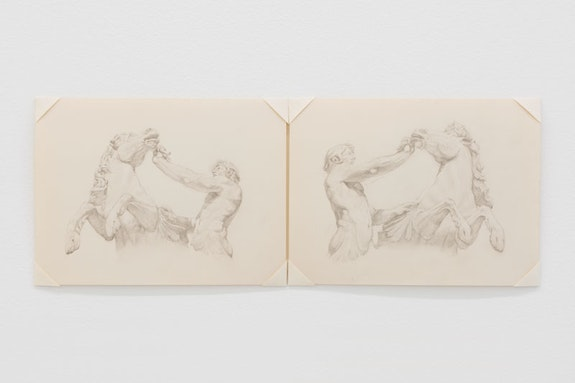 Colter Jacobsen, <em>Trevi Fountain 1 (hippocampus)</em>, 2018. Graphite on paper, 5 3/4 x 16 inches. Courtesy the artist and Callicoon Fine Arts, NY.