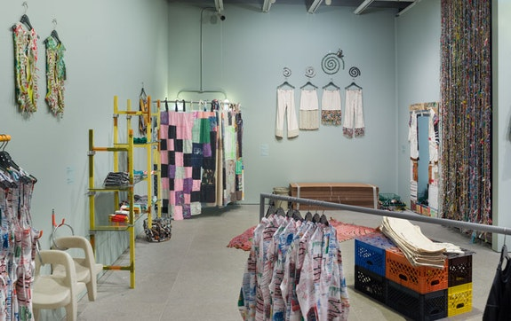 Installation view, Eckhaus Latta: <em>Possessed </em>, Whitney Museum of American Art, New York, 2018). From left to right, front to back: Nora Jane Slade, Criss cross bamboosauce, 2018; Riley O'Neill, <em>Basil's tissue scaffold</em>, 2018; Susan Cianciolo, <em>Textile Curtain for dressing room</em>, 2017-18; Lauren Davis Fisher, <em>Friendshuh Prototypes</em>, 2018; Sophie Stone, <em>Untitled (Dressing Room Rug)</em>, 2018; Amy Yao, <em>Farmer John</em>, 2018; Torey Thornton, <em>Benching Hierarchy Console (EL)</em>, 2018; Martine Syms, <em>Taurus</em>, 2018; Susan Cianciolo, <em>Dress Mirror frame</em>, 2017-18; Eckhuas Latta, <em>Beaded Curtain</em>, 2018. Photo: by Jason Mandella.