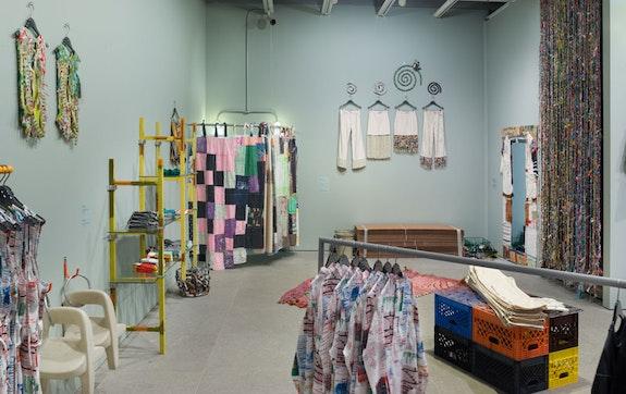 Installation view, Eckhaus Latta: <em>Possessed </em>, Whitney Museum of American Art, New York, 2018). From left to right, front to back: Nora Jane Slade, Criss cross bamboosauce, 2018; Riley O&rsquo;Neill, <em>Basil&rsquo;s tissue scaffold</em>, 2018; Susan Cianciolo, <em>Textile Curtain for dressing room</em>, 2017-18; Lauren Davis Fisher, <em>Friendshuh Prototypes</em>, 2018; Sophie Stone, <em>Untitled (Dressing Room Rug)</em>, 2018; Amy Yao, <em>Farmer John</em>, 2018; Torey Thornton, <em>Benching Hierarchy Console (EL)</em>, 2018; Martine Syms, <em>Taurus</em>, 2018; Susan Cianciolo, <em>Dress Mirror frame</em>, 2017-18; Eckhuas Latta, <em>Beaded Curtain</em>, 2018. Photo: by Jason Mandella.