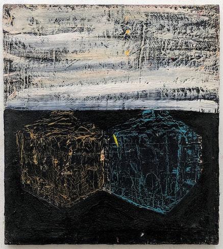 Benjamin Pritchard, <em>Platonic Horizon</em>, oil on found canvas, 20 x 18 in, 2014-15.&nbsp;Courtesy the artist.