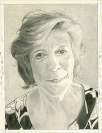 Portrait of Agnes Gund. Pencil on paper by Phong Bui.