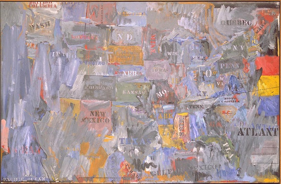 Jasper Johns, <em>Map</em>, 1963. Encaustic and collage on canvas, 60 x 93 inches. Private collection.