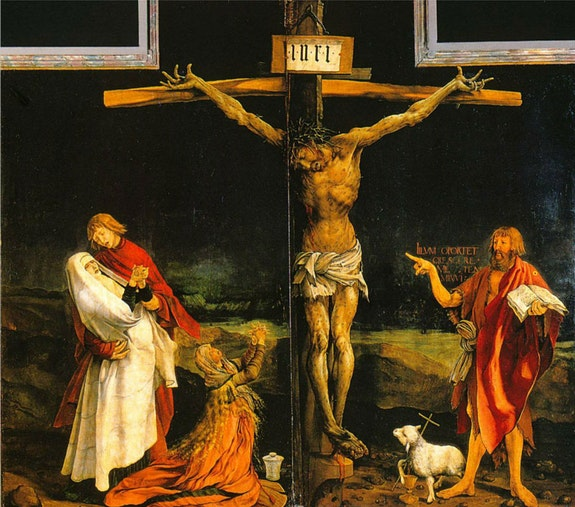 Matthias Grünewald Isenheim altarpiece. <em>St. Sebastian; The Crucifixion; St. Anthony Abbot</em> central panel – first view, 1512 –1516. Oil on panel, 9 feet 9 1/2 inches x 10 feet 9 inches. Unterlinden Museum at Colmar, Alsace.