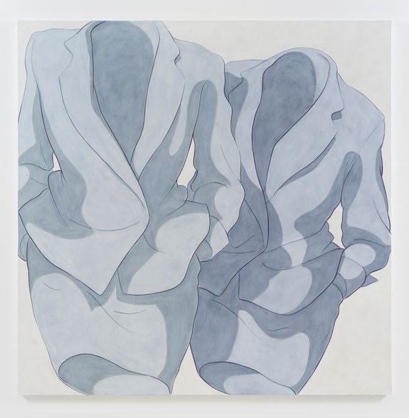 Ivy Haldeman, <em>Blue Suit, Blue Suit</em>, 2018. Acrylic on canvas, 73 x 73 inches. Courtesy Downs & Ross.