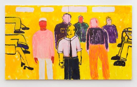 Katherine Bradford, <em>Waiting Room</em>, 2018. Acrylic on canvas, Diptych: 80 x 136 inches. Courtesy Canada Gallery.